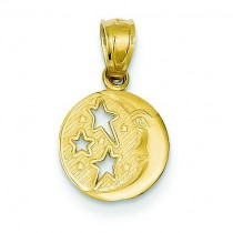 Flat Backed Moon Three Stars Pendant in 14k Yellow Gold