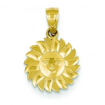 Sun Face Pendant in 14k Yellow Gold