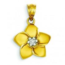 Diamond Cut Floral Pendant in 14k Yellow Gold