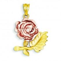 Diamond Cut Flower Pendant in 14k Two-tone Gold