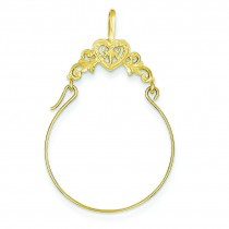 Filigree Heart Charm Holder in 14k Yellow Gold