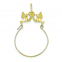 Doves Bow Charm Holder in 14k Yellow Gold