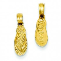 Jamaica Flip Flop Sandal Pendant in 14k Yellow Gold