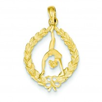 Framed Gymnast Pendant in 14k Yellow Gold