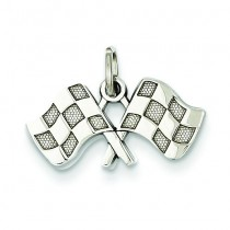 Checkered Flags Charm in 14k White Gold