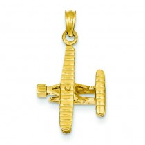 Bi Plane Ribbed Wings Pendant in 14k Yellow Gold