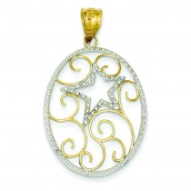 Oval Star Pendant in 14k Yellow Gold