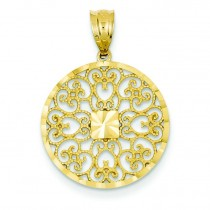 Fancy Filigree Diamond Cut Charm in 14k Yellow Gold