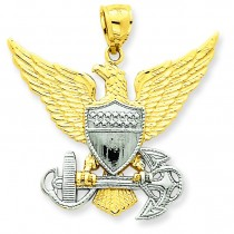 Us Navy Eagle Pendant in 14k Two-tone Gold