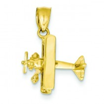 Airplane Pendant in 14k Yellow Gold