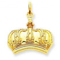 Fleur De Lis Crown Charm in 14k Yellow Gold