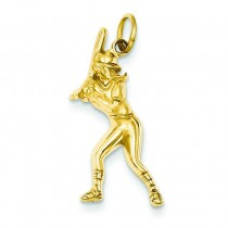 Female Baseball Batter Charm in 14k Yellow Gold