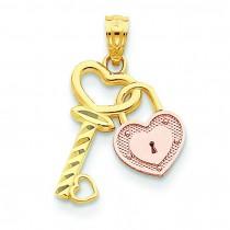 Heart Lock Key Pendant in 14k Two-tone Gold