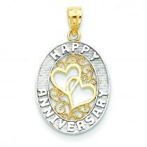Happy Anniversary Hearts Pendant in 14k Yellow Gold