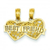 Best Friend Breakable Double Hearts Pendant in 14k Yellow Gold