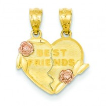 Best Friends Break Apart Heart Pendant in 14k Two-tone Gold
