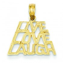 Live Laugh Love Pendant in 14k Yellow Gold