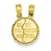 Best Friends Forever Break Apart Pendant in 14k Yellow Gold