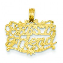 Best Friend In Heart Pendant in 14k Yellow Gold