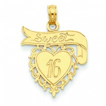 Sweet On Heart Banner Pendant in 14k Yellow Gold