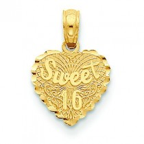 Sweet On Heart Disk Pendant in 14k Yellow Gold