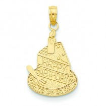 Slice Of Cake Candle Happy Birthday Pendant in 14k Yellow Gold