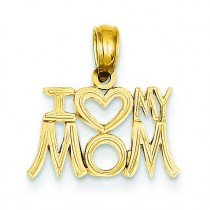 I Heart My Mom Pendant in 14k Yellow Gold