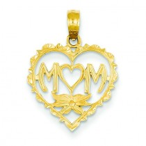 Mom In Heart Shaped O Pendant in 14k Yellow Gold