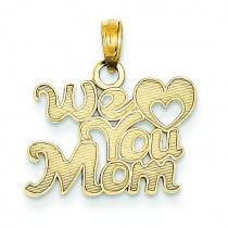 We Heart You Mom Pendant in 14k Yellow Gold