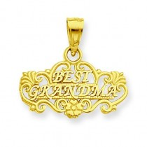 Best Grandma Pendant in 14k Yellow Gold