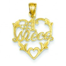 Niece In Heart Pendant in 14k Yellow Gold