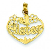 Sister In Heart Pendant in 14k Yellow Gold