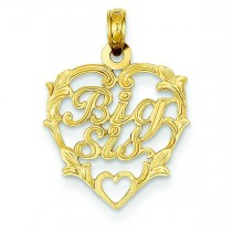 Big Sis In Heart Pendant in 14k Yellow Gold