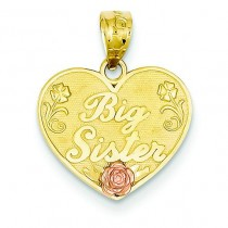 Big Sister Heart Pendant in 14k Two-tone Gold