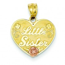 Little Sister Heart Pendant in 14k Two-tone Gold