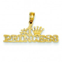 Princess Pendant in 14k Yellow Gold