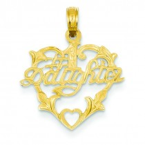 Daughter In Heart Pendant in 14k Yellow Gold