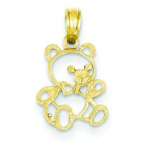 Small Teddy Bear Pendant in 14k Yellow Gold