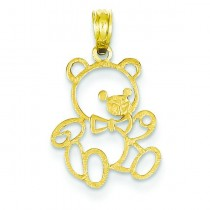 Large Teddy Bear Pendant in 14k Yellow Gold