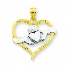 Claddagh Heart Pendant in 14k Yellow Gold