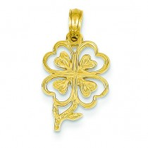 Shamrock Stem Pendant in 14k Yellow Gold