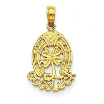 Good Luck Horseshoe Clover Pendant in 14k Yellow Gold