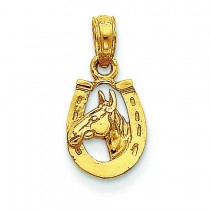 Horseshoe Horse Head Pendant in 14k Yellow Gold