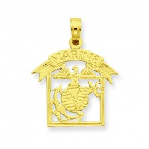 Framed Marine Pendant in 14k Yellow Gold