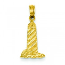 Lighthouse Building Pendant in 14k Yellow Gold