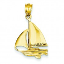 Sailboat Pendant in 14k Yellow Gold