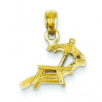 Lounge Beach Chair Pendant in 14k Yellow Gold