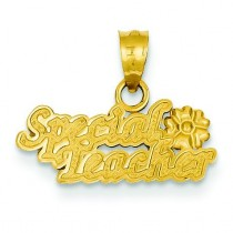 Special Teacher Flower Pendant in 14k Yellow Gold