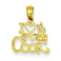 I Heart To Cook Pendant in 14k Yellow Gold
