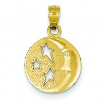 Moon Stars Pendant in 14k Yellow Gold